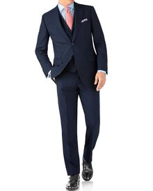Indigo blue puppytooth classic fit Panama business suit
