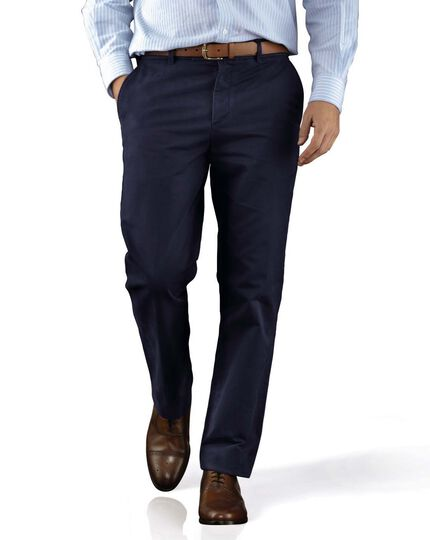 Marine blue slim fit flat front chinos