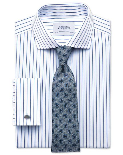 Exta slim fit spread collar non iron stripe white and navy shirt