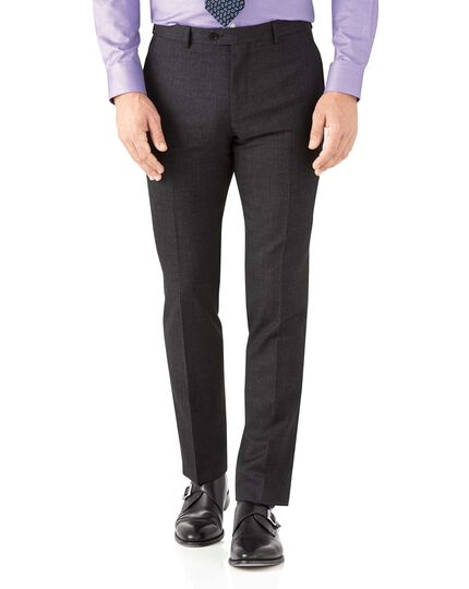 Charcoal slim fit hairline business suit trousers