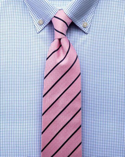 Slim fit button down non-iron twill grid check sky blue shirt