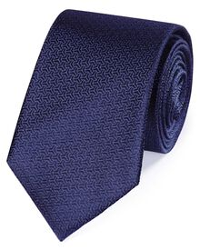 Dark blue silk arrow semi plain classic tie