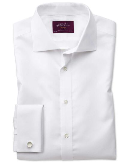 Slim fit semi-spread collar non-iron luxury white shirt