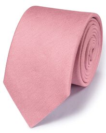 Pink silk mix classic plain tie