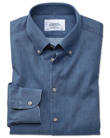 Extra Slim Fit Business-Casual Hemd mit Button-down Kragen in Indigo-mittelblau