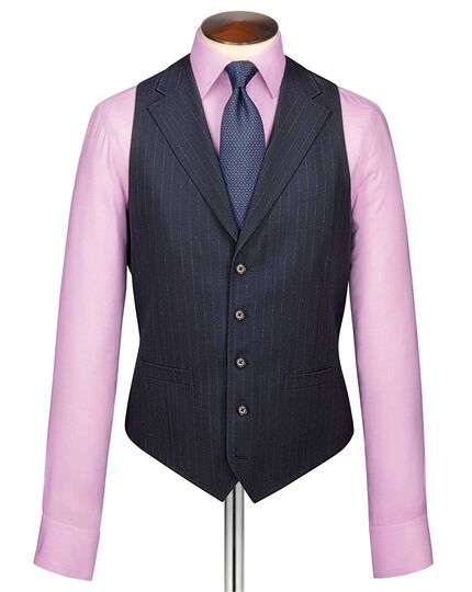 Dark blue stripe flannel business suit waistcoat