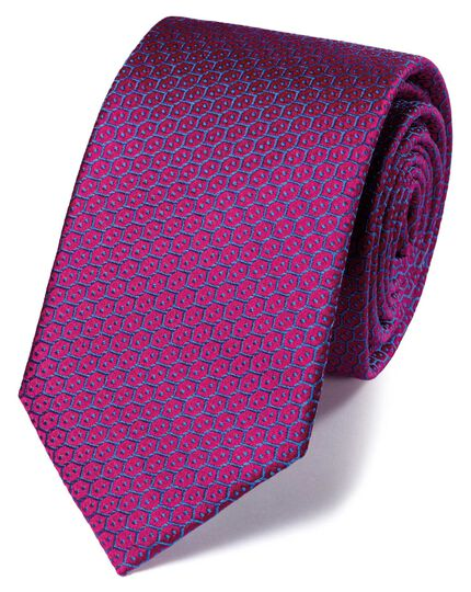 Pink silk wire lattice classic tie