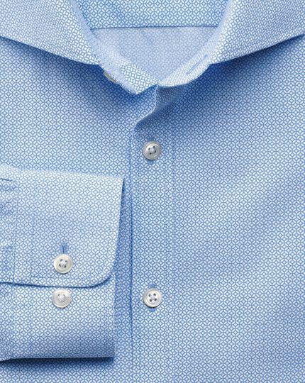 Slim fit sky blue geometric print shirt