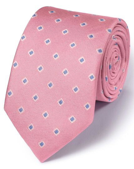 Light pink silk classic Oxford square tie
