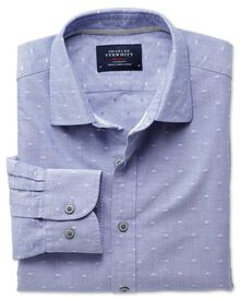 Slim fit blue and white dobby shirt