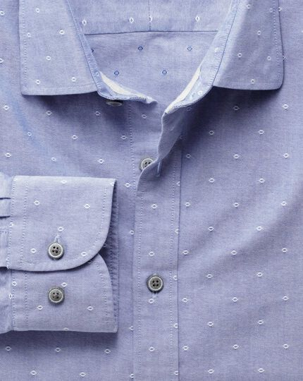 Slim fit blue and white dobby shirt
