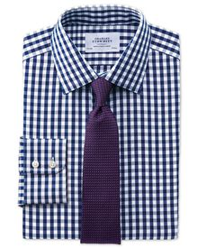Classic fit non-iron Oxford gingham navy shirt