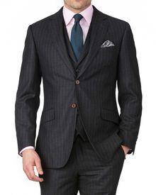 Charcoal slim fit saxony business suit jacket