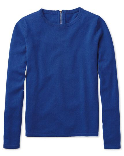 Royal blue merino cashmere zip back jumper