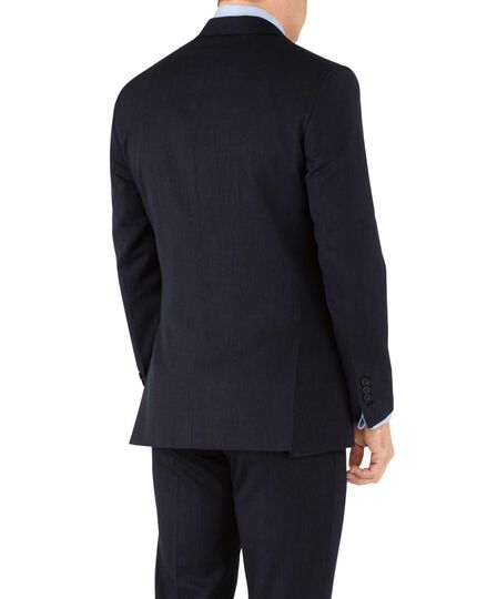 Slim Fit Business Anzug Sakko aus Hairline in Marineblau