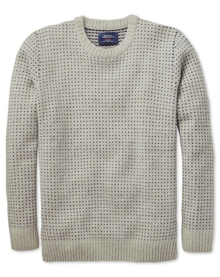 Beige birdseye crew neck sweater
