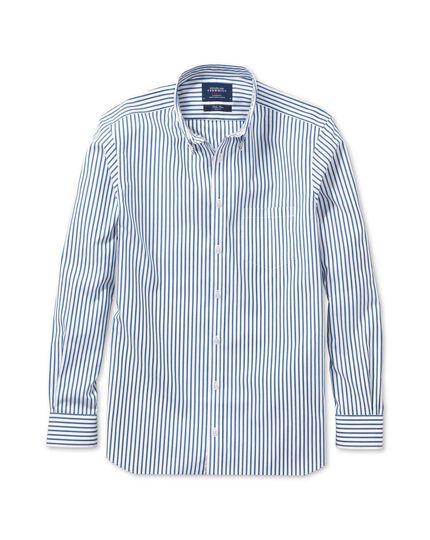 Slim fit non-iron poplin blue stripe shirt