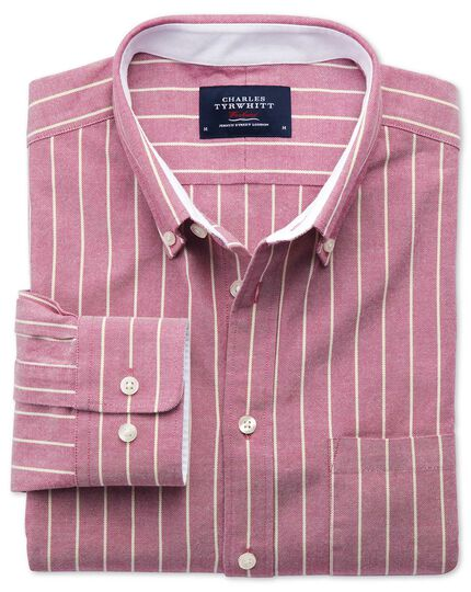 Slim fit magenta stripe washed Oxford shirt