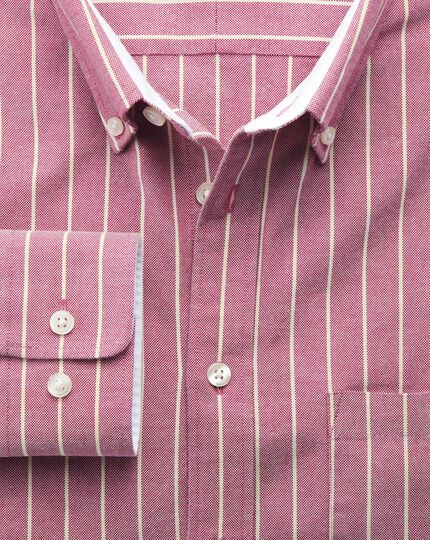 Slim fit magenta stripe washed Oxford shirt