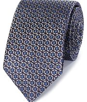 Silver and blue silk mosaic English luxury tie