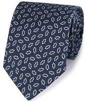 Navy and white silk printed neat English luxury tie