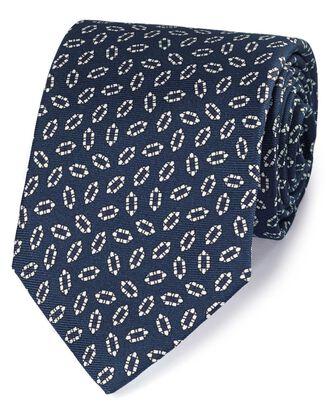 Cravate de luxe bleu marine et blanche en soie anglaise impeccable avec imprimé