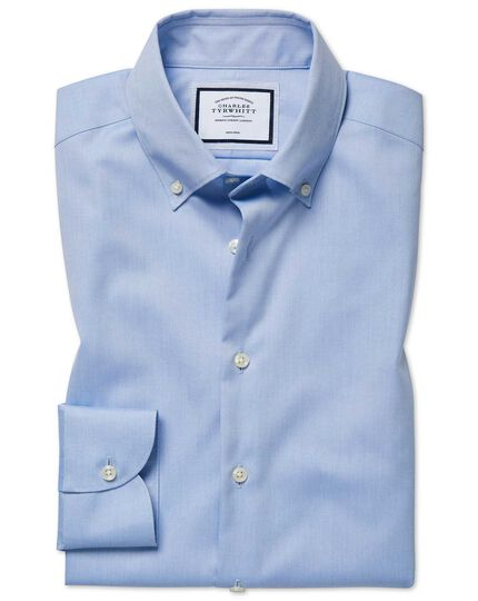 Slim fit business casual non iron button-down sky shirt