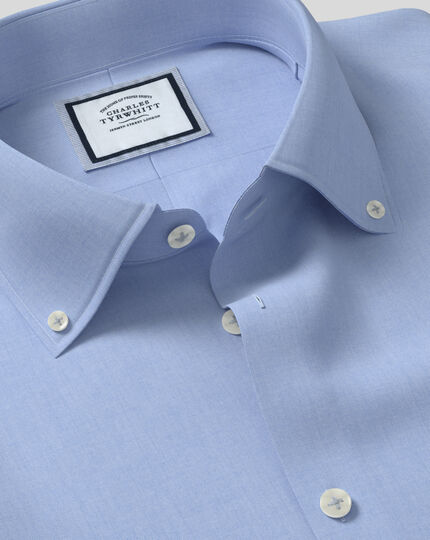 Extra slim fit button-down collar non-iron business casual sky blue shirt