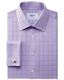 Classic fit non-iron Prince of Wales lilac shirt