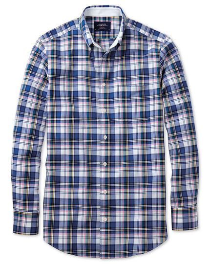 Slim fit blue multi check washed Oxford shirt