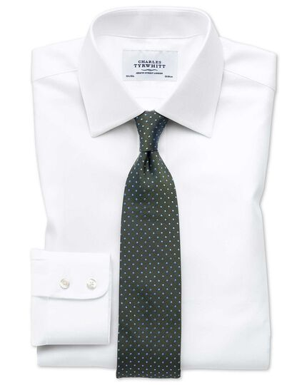 Extra slim fit Egyptian cotton cavalry twill white shirt