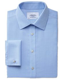 Slim fit non-iron micro spot sky shirt