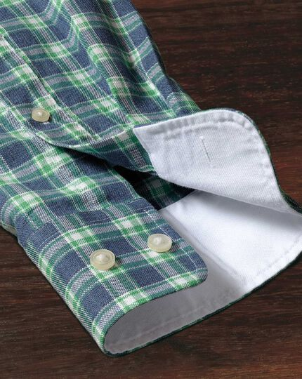 Classic fit blue and green check washed Oxford shirt
