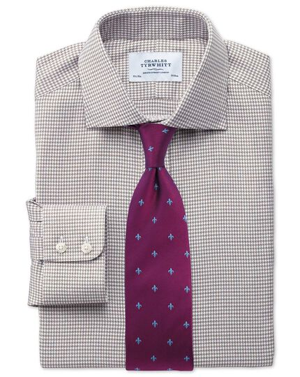 Slim fit semi-spread collar melange puppytooth stone shirt