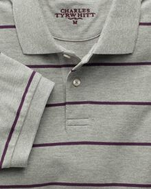Grey and purple stripe pique polo