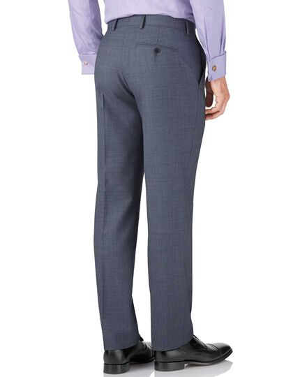 Light blue classic fit sharkskin travel suit trousers