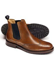 Tan Tedworth brogue Chelsea boots