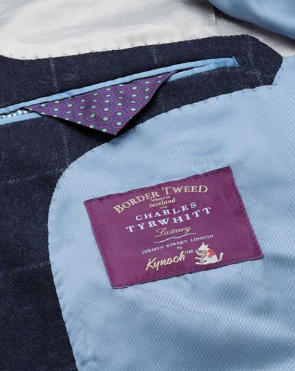 Classic Fit Luxus-Tweedsakko in Blau mit Karos