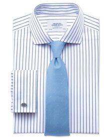 Slim fit spread collar non iron stripe white and navy shirt