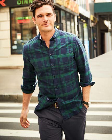 Extra Slim Fit Oxfordhemd in Marineblau und Grün mit Karos