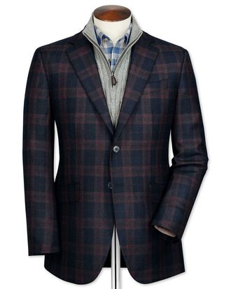 Slim fit navy check lambswool jacket