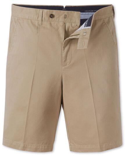 Stone single pleat chino shorts