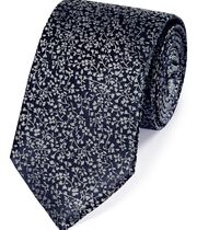 Navy and silver silk floral classic tie