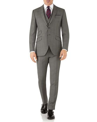 Silver slim fit Italian sharkskin luxury check suit