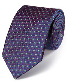 Magenta and navy silk luxury English geometric tie