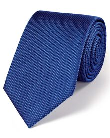 Royal blue silk plain classic tie