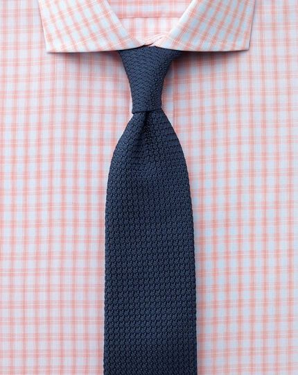 Extra slim fit spread collar Egyptian cotton compact check orange shirt