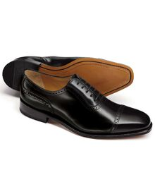 Black Baxter toe cap brogue Oxford shoes