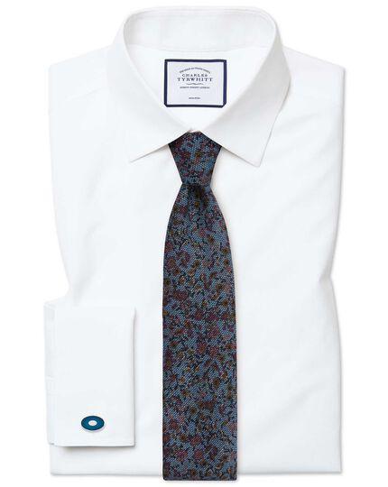 Slim fit non-iron poplin white shirt