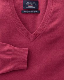 Coral cotton cashmere v-neck jumper